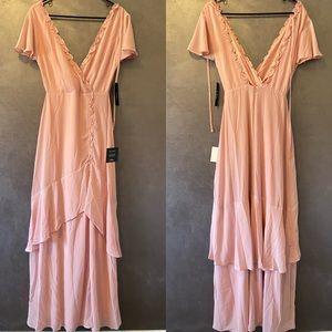 NWT Lulus XS Pink Ruffled Backless Maxi Dress
